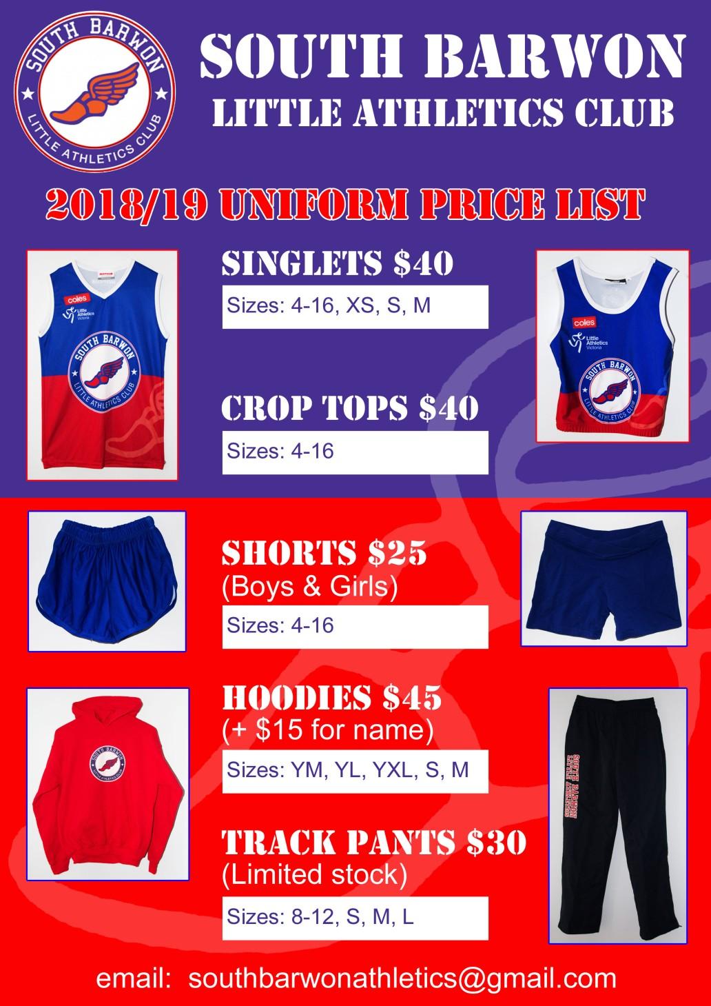 2018-19 Uniform Price List v3