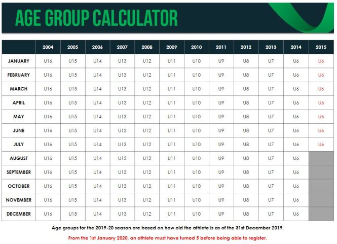 Age Group Calculator - 2019-2020