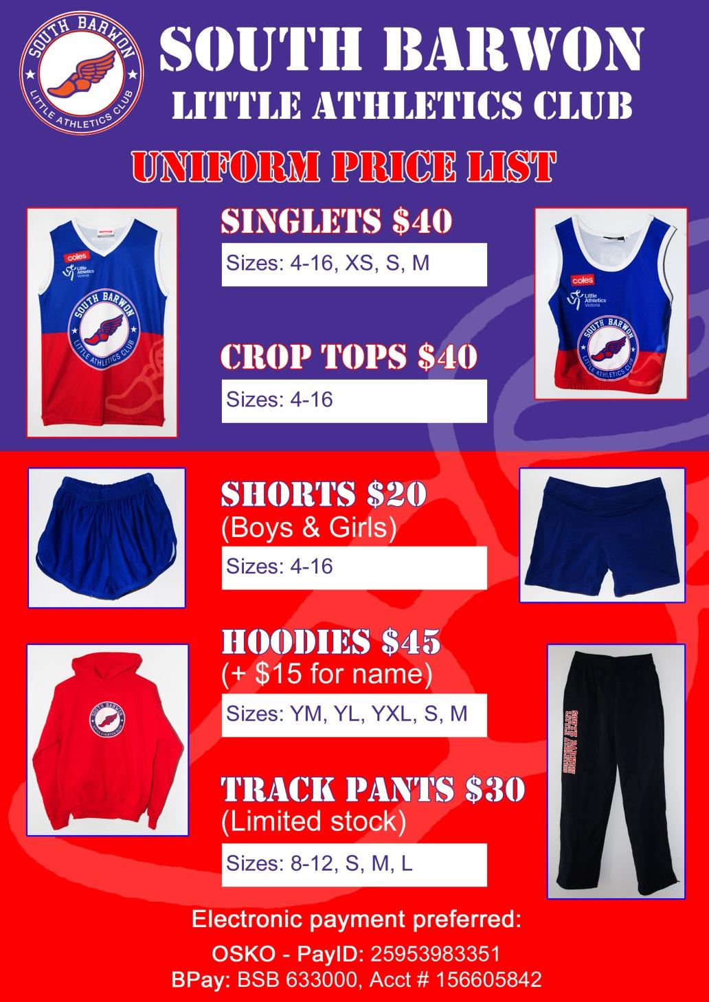 2020-2021 Uniform Price List